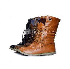 Chaussures Femme - Décontracté - Noir / Marron / Brun Clair - Talon Bas - Confort / Rangers - Bottes - Faux Cuir - USD $31.49