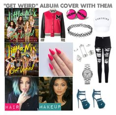"""""Get Weird"" Album Cover With Little Mix"" by famouskike1616 ❤ liked on Polyvore featuring Baldwin, Moschino, Wildfox, Topshop and Marc by Marc Jacobs"