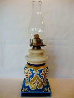 "Fantastic 18 1/2"" High, Faience Enameled Base with Two Tier Hand painted Milk Glass Kerosene / Oil Lamp ~ In the style of and attributed to Longwy France mid 1800's to late 1800's. Aladdin lamp is dated 1877"