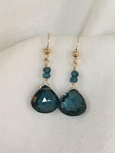 Blue Topaz Faceted Heart Earrings