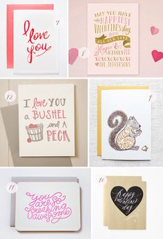 Seasonal Stationery: Valentine's Day, Part 2 | 7. Golden Pines; 8. Minted; 9. Hennel Paper Co.; 10. Fig. 2 Design Studio in collaboration with Feast Calligraphy; 11. Moglea; 12. Belle & Union | Click through for full links and resources!