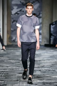 A look from the Neil Barrett Spring 2016 Menswear collection.