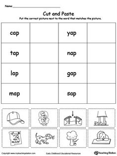 **FREE** AP Word Family Match Picture with Word Worksheet.Topics: Sorting & Categorizing, Word Families, Reading, and Phonics.