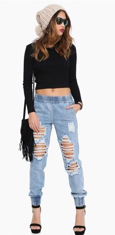 Love this fun outfit/ relax/trendy/denim/heels/beanie/transition outfit