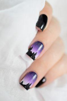Marine Loves Polish: Nailstorming - A la montagne ! [VIDEO TUTORIAL] - Night landscape mountain nail art - free hand nail art - gradient