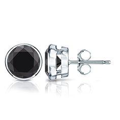 18k White Gold Round Black Diamond Stud Earrings Bezel 1 2 Cttw