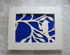 Cobalt Blue and White Bird Silhouette Wood Wall Decor Art via Etsy