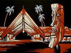 Sam Gambino: The Out-of-Towner Tiki Art, Tiki Tiki, Tiki Hawaii, Tiki Lounge, Vintage Tiki, Tiki Torches, Tiki Room, Cool Art, Fun Art