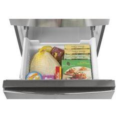 Bottom-Freezer Counter-Depth Refrigerator Stainless steel at Best Buy. Counter Depth Refrigerator, Bottom Freezer Refrigerator, Stainless Steel Refrigerator, Stainless Steel Doors, Best Appliances, Kitchen Appliances, Small Space Storage, Storage Rack