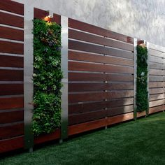 73 garden fence ideas for protecting your privacy in the yard : Front Yard Privacy Garden Fence Wood Steel Elements Vertical Garden Wall Backyard Fences, Garden Fencing, Backyard Landscaping, Landscaping Ideas, Backyard Ideas, Garden Art, Planter Garden, Backyard Privacy, Garden Trellis