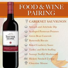 Sutter Home Wine & Food Pairing Series: Thanksgiving - Sutter Home CabernetSauvignon is a Thanksgiving favorite. Wine And Cheese Party, Wine Tasting Party, Wine Cheese, Wine Paring, Sutter Home, Wine Guide, Sweet Wine, Wine Night, Me Time