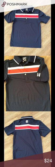 Youth foot joy golf polo this is a youth boys foot joy brand golf dry fit polo. It actually has our country club logo on the sleeve. A cool add on to a great kids golf shirt. foot joy Shirts & Tops Polos
