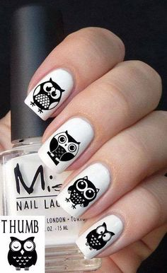 #nails #owls #white #black
