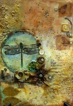 Mixed media encaustic painting by Sanda Reynolds
