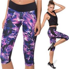 Women Yoga Pants Calf-length Leggings Fashion Printing Fitness Yoga Pants Yoga Gym Wearing