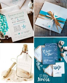 Invitaciones para una boda en la playa   33 Ideas para una Boda en la Playa   El Blog de una Novia   #bodaenlaplaya #boda #playa
