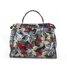 Fendi Peekaboo Large Floral printed leather Tote Handbag Bag Purse  6850  retail Printed 7ba57a7880e6c