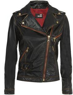 Moschino Black Worn Leather Jacket