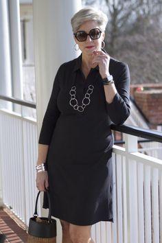 southcott black henley dress fashion over 50 женская мода,. Fashion Over Fifty, 60 Fashion, Office Fashion Women, Women's Fashion Dresses, Fashion Trends, Fashion For Petite Women, Over 50 Womens Fashion, Moda Plus Size, Clothes