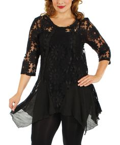 Black Lace Sidetail Tunic - Plus