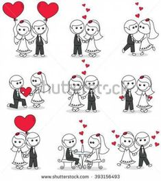 Imagens, fotos stock e vetores similares de cartoon doodle wedding couple with hearts - 109990703 Cute Cartoon Characters, Couple Cartoon, Couple Drawings, Easy Drawings, Wedding Couples, Cute Couples, Doodle Wedding, Couple Clipart, Easy Doodle Art