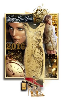 """""""Golden New Year's Gowns"""" by mellapr ❤ liked on Polyvore featuring WithChic, Untold, Edie Parker, Trilogy, Giuseppe Zanotti, Lucky Star and Giorgio Armani"""