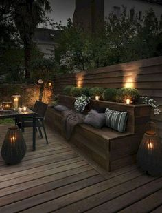 45 Cute Backyard Seating Area Ideas - Summer days and nights are great for enjoying the outdoors. The best way to enjoy the summer is by using your outdoor seating area in your garden. Backyard Seating, Backyard Patio Designs, Outdoor Seating Areas, Outdoor Rooms, Backyard Landscaping, Outdoor Gardens, Outdoor Living, Outdoor Decor, Patio Ideas
