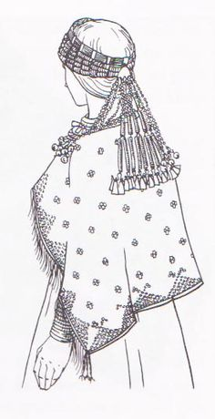 Ancient Selonian dress from the Iron Age in Latvia, circa 9th-12th centuries.