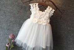 "The ""Sadie"" Flower Lace Crochet Girls Dress in White - Angora Boutique - 2"