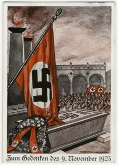 Waffen SS Color Hoffmann PC 1923/33 of the 1923 Putsch memorial with Waffen SS Blood draped over the coffins of the myrtrs.