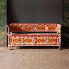 Antique Folk Art Painted Bench
