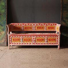 Antique Folk Art Painted Bench