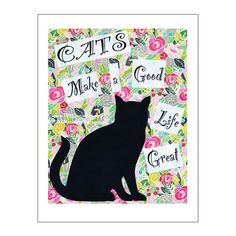 Cat Print Cat Poster Cat Art Cats Make a Good by PawsomeArtDesigns, $12.00