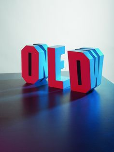 This 3D typography is effective in creating two words with only three, letter shaped objects. It also links well to the theme as it demonstrates a transition between old and new.