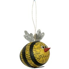book pages AND a bee. Christmas Countdown, Christmas Fun, Christmas Decorations, Christmas Ornaments, Holiday Decor, School Art Projects, School Ideas, Recycle Newspaper, Polymer Clay Ornaments