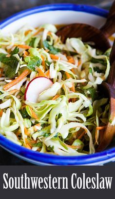 Best coleslaw for fish tacos! Cool and crunchy, thinly sliced cabbage with carrots and radishes. Great with Mexican food. Easy! On SimplyRecipes.com