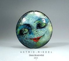 Moon Face Series- Art on Glass- lampwork focal bead- 41mm - Astrid Riedel (South Africa)