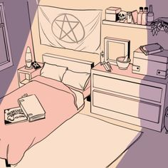 Illustration by M. Goth Bedroom, Pastel Bedroom, Bedroom Art, Bedroom Themes, Bedroom Ideas, Bedrooms, Bedroom Drawing, House Drawing, Witch Aesthetic