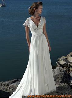 romantisches Brautkleid  aus Chiffon  mit V-Ausschnitt