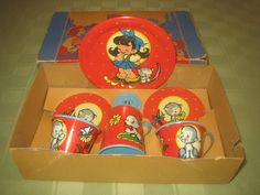 "Tin Ohio Art Tea Set ""She Loves Me"" 7 PC Set MIB Circa 1940's Signed   eBay"
