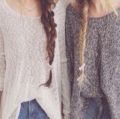 best friends, blonde, braid, brunette, cute, fashion, friends, hair, love, outfit, pretty, snow, style, sweater, winter - image #2339944 by Maria_D on Favim.com ✿. ☺  ☺