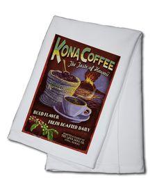 Towel (Hawaii - Kona Coffee Vintage Sign - Lantern Press Artwork)