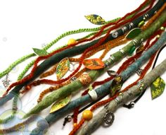 MADE TO ORDER. Colorful Wool Dreadfall, with hand-painted leather leafs, beads and charms. Wool Dreadlocks. Felted Dreads. on Etsy, 58.00