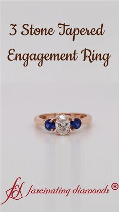 The 3 stone tapered engagement ring exhibits a timeless oval-shaped center diamond placed on a graceful basket prong setting flanked by a charming round cut sapphire on either side of the center stone adding splendor and elegance to the ring. Best Diamond, Oval Diamond, Diamond Rings, Gold Rings, 3 Stone Engagement Rings, Rose Gold Engagement Ring, Three Stone Rings, Stylish Jewelry, Sapphire