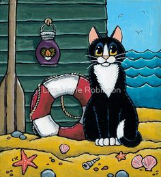 """A Cat's Day Out at the Beach"" Lisa Marie Robinson I Love Cats, Cool Cats, Cats And Kittens, Ragdoll Kittens, Funny Kittens, Bengal Cats, White Kittens, Adorable Kittens, Baby Cats"
