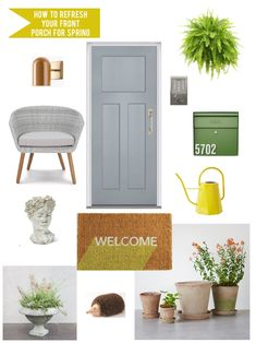 Paper Parade Co.: How to refresh your front porch and garden for spr. post by Schlage Canada Hanging Planters, Hanging Baskets, Front Door Colors, Front Doors, Craftsman Door, Front Door Handles, Outdoor Sconces, Window Boxes, Flower Seeds