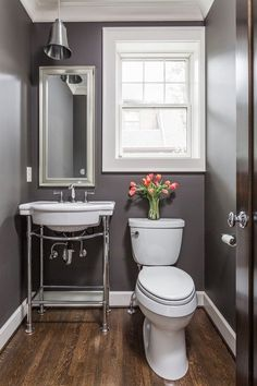 Traditional Powder Room with American Standard Retrospect Console Table with Bathroom Sink, Limestone counters, Console sink Bathroom Renos, Bathroom Renovations, Small Bathroom, Master Bathroom, Bathroom Ideas, Brown Bathroom, Bathroom Basin, Bathroom Hardware, Bathroom Designs