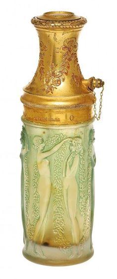 An Art Deco Molinard perfume atomizer, designed by René Lalique, circa 1923.