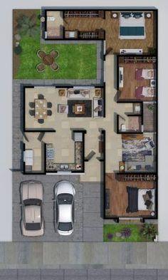 3d House Plans, Courtyard House Plans, Model House Plan, Simple House Plans, House Layout Plans, Simple House Design, Minimalist House Design, Dream House Plans, Home Building Design