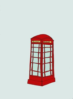 red phonebooth 8X10 illustration by NatSmithIllustration on Etsy